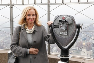 J.K. Rowling is pictured on the 86th floor of the Empire State Building after lighting the iconic building to mark the launch of her children's non-profit organization, Lumos USA, which works to end the institutionalization of 8 million children around the world living in orphanages despite most having parents and families that could care for them with some support, New York, Thursday, April 9, 2015. (Photo/ Lumos)